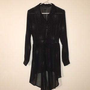 Sheer Tunic with Faux Leather Collar & Cuffs